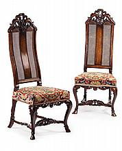 PAIR OF WILLIAM & MARY WALNUT AND CANED HIGH BACK SIDE CHAIRS LATE 17TH CENTURY 51cm wide, 127cm high, 40m deep