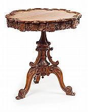 VICTORIAN SCOTTISH CARVED OAK TRIPOD TABLE 19TH CENTURY 60cm diameter, 65cm high