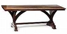 VICTORIAN OAK GOTHIC REVIVAL REFECTORY TABLE 19TH CENTURY 213cm long, 78cm high, 77cm deep