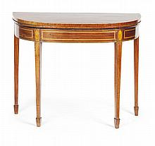 GEORGE III DEMILUNE MAHOGANY AND ROSEWOOD FOLDOVER GAMES TABLE 18TH CENTURY 90cm wide, 73cm high, 44cm deep