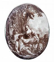FINE BATTERSEA OVAL PRINTED ENAMEL PLAQUE CIRCA 1750-60 5cm x 4cm