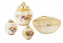 GROUP OF ROYAL WORCESTER BLUSH IVORY PORCELAIN LATE 19TH / EARLY 20TH CENTURY