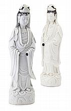 TWO CHINESE BLANC DE CHINE FIGURES OF GUANYIN QING DYNASTY, 19TH CENTURY 39.5cm high