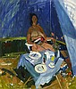 JOHN CUNNINGHAM R.G.I. (SCOTTISH 1926-1998) NUDE AND TABLE 76cm x 63cm (30in x 24.75in)