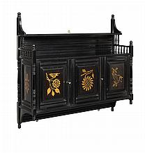 AESTHETIC MOVEMENT EBONISED BEECH WALL CABINET, CIRCA 1870 81cm wide, 75cm high, 22.5cm deep