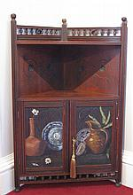AESTHETIC MOVEMENT PAINTED CORNER CABINET, CIRCA 1880 66cm wide, 105.5cm high, 35.5cm deep