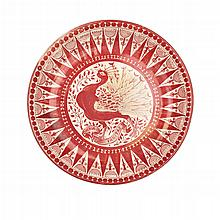 WILLIAM DE MORGAN (1836-1917) RUBY LUSTRE CIRCULAR CHARGER, CIRCA 1890 36cm diameter
