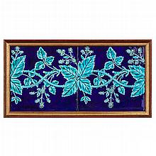 MINTONS LTD. PAIR OF FRAMED TWO-TILE PANELS, CIRCA 1890 each tile approx 21cm square