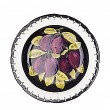 WEMYSS WARE 'PURPLE PLUMS' GORDON DESSERT PLATE, EARLY 20TH CENTURY 20.5cm diameter
