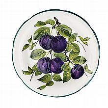 WEMYSS WARE 'PURPLE PLUMS' GORDON DESSERT PLATE, EARLY 20TH CENTURY 21cm diameter