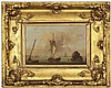 ATTRIBUTED TO CHARLES MARTIN POWELL (BRITISH 1775- 1824) FISHING BOATS BECALMED 11.5cm x 18cm (4.5in x 7in) and a companion a pair (...