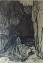 § KATE DOWNIE R.S.A. (SCOTTISH B.1958) THE PIGEON'S CAVE, 1989 53cm x 73cm (21in x 28.75in)
