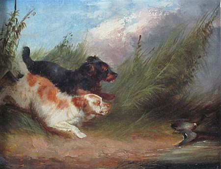 GEORGE ARMFIELD (BRITISH 1808-1893) CHASING DUCKS 18cm x 24cm (7in x 9.5in)