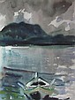 § JOHN HOUSTON O.B.E., R.S.A. (SCOTTISH 1930-2008) THE ROW BOAT 49cm x 37cm (19.25in x 14.5in)