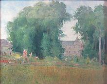 § GEORG WOLF (GERMAN 1882-1962) GARDEN VIEW, POSSIBLY 'SCHLOSS ARRANCY IN DER PICARDIE' 53cm x 70cm (20.75in x 27.5in)