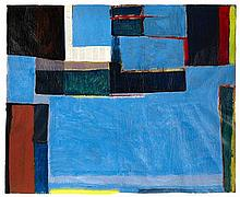 § FRANK BEANLAND (BRITISH B.1936) UNTITLED WITH BLUE 113cm x 138cm (44.5in x 54in)