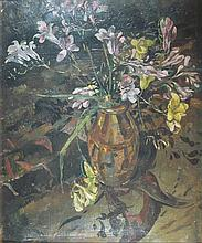 § GRAHAM MURRAY (SCOTTISH 1907-1987) STILL LIFE WITH YELLOW AND PINK FLOWERS 52.5cm x 42cm (20.75in x 17.75in)