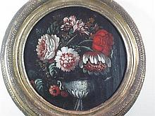 19TH CENTURY CONTINENTAL SCHOOL STILL LIFE WITH TULIPS IN DECORATIVE VASE 24cm (9.5in) diameter and another by the same hand, a pair...