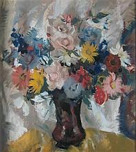 § LENA ALEXANDER (SCOTTISH 1899-1983) STILL LIFE WITH YELLOW AND PINK FLOWERS 52.5cm x 47cm (20.75in x 18.5in)