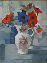 § WINIFRED MCKENZIE (SCOTTISH 1905-2001) STILL LIFE WITH RED AND BLUE POPPIES 39cm x 29cm (15.25in x 11.5in)