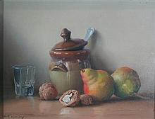 § ROBERT CHAILLOUX (FRENCH 1913-2006) STILL LIFE WITH PEARS AND WALNUTS 27.5cm x 35.5cm (10.75in x 14in) an another still life by th...
