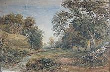 DAVID COX JNR (BRITISH 1808-1885) PATH BESIDE THE STREAM 34cm x 52cm (13.5in x 20.5in)
