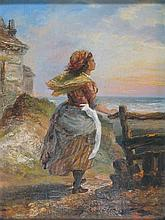 J. F. BURNS (19TH CENTURY CONTINENTAL SCHOOL) FISHERGIRL 30cm x 22cm (11.75in x 8.75in) and another by the same hand, a pair (2)