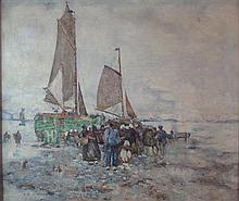 ROBERT MCGOWN COVENTRY A.R.S.A, R.S.W. (SCOTTISH 1855-1914) DUTCH FISHING BOATS 48.5cm x 58.5cm (19in x 23in)