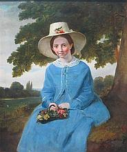 19TH CENTURY AMERICAN SCHOOL PORTRAIT OF A YOUNG WOMAN IN A BLUE DRESS 56cm x 44cm (22in x 17.25in)