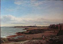 WILLIAM BEATTIE BROWN R.S.A. (SCOTTISH 1831-1909) ON THE EAST COAST NEAR COCKENZIE 36cm x 55cm (14in x 21in)