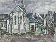 § WILLIAM WILSON R.S.A., R.S.W. (SCOTTISH 1905-1972) BRETON CHURCH 46.5cm x 62cm (18.25in x 24.25in)