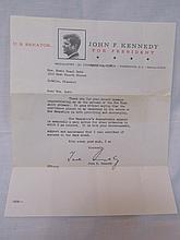 JFK Typo Letter as Senator of MA