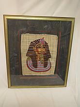 Large Egyptian Papyrus Painting of Pharaoh