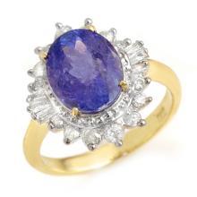 14K Yellow Gold Jewelry 3.75 ctw Tanzanite & Diamond Ring - SKU#U80L4- 99239
