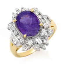 14K Yellow Gold Jewelry 5.0ct Tanzanite & Diamond Ring - SKU#U11V24- 90778