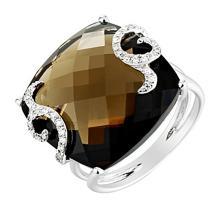 18K White Gold Jewelry 16.29 ctw Diamond & Smoky Topaz Ring - SKU#U36F8- 5473