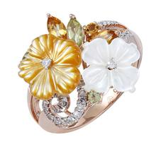 14K Rose Gold Jewelry 0.83 ctw Diamond & Peridot, Citrine, Pearl Ring - SKU#U31K8- 5029