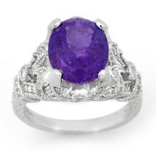 14K White Gold Jewelry 6.10 ctw Tanzanite & Diamond Ring - SKU#U15P98- 99815