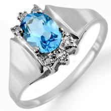 10K White Gold Jewelry 1.23 ctw Blue Topaz & Diamond Ring - SKU#U8N4- 1285