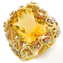 10K Yellow Gold Jewelry 11.4 ctw Citrine & Diamond Ring - SKU#U47M9- 1273