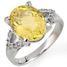 10K White Gold Jewelry 5.2 ctw Lemon Topaz & Diamond Ring - SKU#U21N5- 1406
