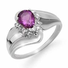 10K White Gold Jewelry 0.56 ctw Amethyst & Diamond Ring - SKU#U10W1- 90149