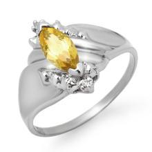10K White Gold Jewelry 0.52 ctw Citrine & Diamond Ring - SKU#U8W3- 90026