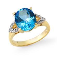 10K Yellow Gold Jewelry 5.3 ctw Blue Topaz & Diamond Ring - SKU#U18M5- 90662