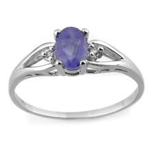 10K White Gold Jewelry 0.77ct Tanzanite & Diamond Ring - SKU#U9N6- 1801