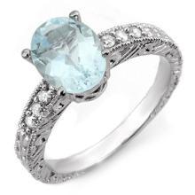 14K White Gold Jewelry 2.43 ctw Aquamarine & Diamond Ring - SKU#U28P2- 1599