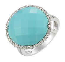 18K White Gold Jewelry 9.77 ctw Diamond & Turquoise Ring - SKU#U38G9- 5544
