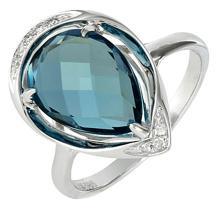 18K White Gold Jewelry 4.59 ctw Diamond & London Blue Topaz Ring - SKU#U32F9- 5517