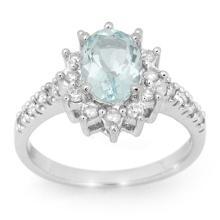 14K White Gold Jewelry 2.20 ctw Aquamarine & Diamond Ring - SKU#U46Q8- 99817