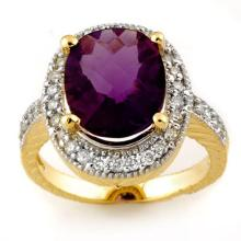 14K Yellow Gold Jewelry 5.50 ctw Amethyst & Diamond Ring - SKU#U39B3- 1651